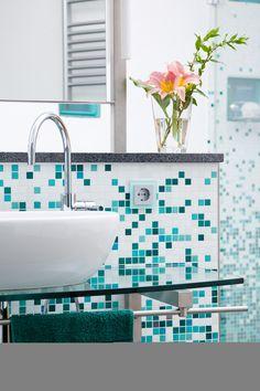 oblong white basin on glass counter, small green and white ceramic tiles on walls Bathroom Splashback, Bathroom Flooring, Decorative Tile, Beautiful Bathrooms, Tile Patterns, Bathroom Inspiration, Building A House, Home Improvement, Bathtub