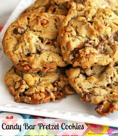 """These loaded Candy Bar Pretzel Cookies are the epitome of """"go big or go home"""" and sure to be a hit with your candy and cookie loving friends. Pretzel Cookie Recipe, Pretzel Cookies, Gooey Cookies, Cookie Brownie Bars, Yummy Cookies, Pretzels, Pretzel Recipes, Pretzel Treats, Pecan Cookies"""