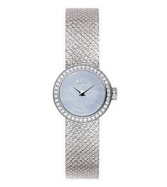 Montre La Mini D de Dior Satine http://www.vogue.fr/joaillerie/le-bijou-du-jour/diaporama/horlogerie-montre-couture-d-de-dior-satine/26522#montre-la-mini-d-de-dior-satine