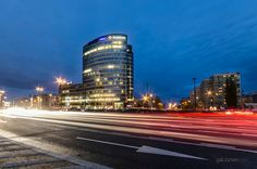 Polish-Cavalry roundabout in Warsaw, Poland. Long time exposure.