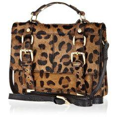 a555f4d3a8f River Island Brown leopard leather ponyskin mini satchel (€53) found on Polyvore  Leopard