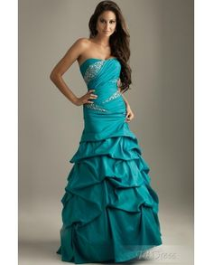 Cheap Elegant Strapless A-Line Floor-length Evening/Prom/Quinceanera/Ball Gown Dresses