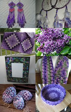 "~WJoyDesigns~ My Iridized Emerald Green & Purple Stained Glass Mosaic Mirror Oil Slick Glass 11 1/4"" x 9 1/4"" is featured here! Pretty in Purple by Nancy and Bruce on Etsy--Pinned with TreasuryPin.com"