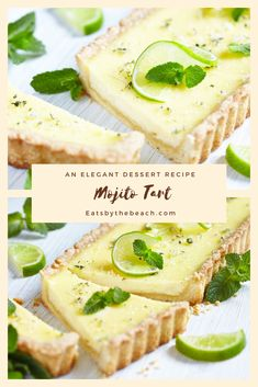 Mojito Tart - The flavors of a mojito cocktail in a tart. Creamy lime, rum, and mint custard in a buttery, flaky crust. Köstliche Desserts, Delicious Desserts, Dessert Recipes, Yummy Food, Plated Desserts, Custard Desserts, Tart Recipes, Sweet Recipes, Cooking Recipes