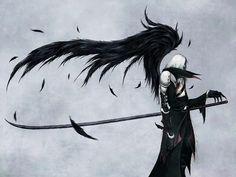 artwork, final fantasy VII, and wallpaper image Final Fantasy Vii, Artwork Final Fantasy, Fantasy Series, Dark Fantasy, Fantasy Paintings, Angel Wallpaper, Black Angels, Video Game Art, Video Games