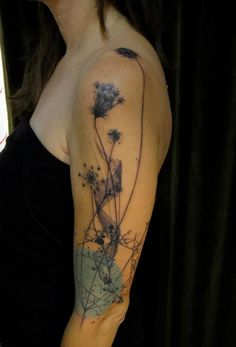 beautiful artsy nature tattoo by Xoil. Love the color punch part.