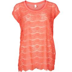 Vila Luat Lace Top (530 UAH) ❤ liked on Polyvore featuring tops, shirts, blouses, diva pink, see through blouse, lace blouse, red blouse, sheer lace shirt e red lace blouse