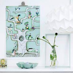 Sofie Børsting Plakat A3 Bird Tree Mint