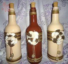 Resultado de imagem para garrafas decoradas com palhas