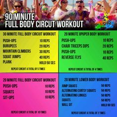 90 minute full body circuit workout. I would cut reps on legs in half and do 4 sets                                                                                                                                                                                 More