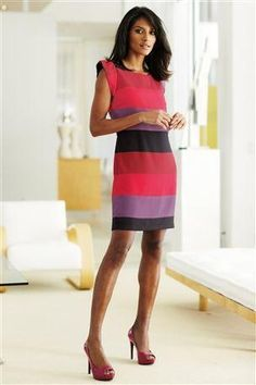 Colorful    Stripes   Don't forget: any dress you wear in the professional work place must reach the knee