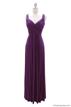 :As Seen In US WEEKLY: Long Crossover Fauxe Wrap Vintage Inspired Jersey Bridesmaid Dress-Dusty Purple