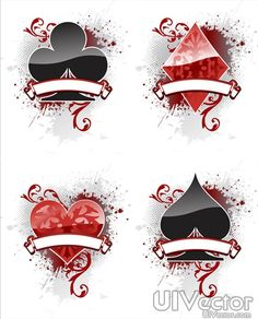 Playing Card Designs | Playing card suit design vector