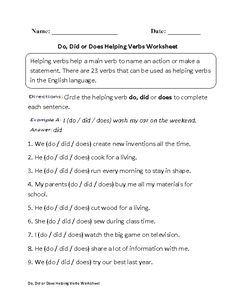 This helping verbs worksheet directs the student to circle the helping verb do, did, or does that best completes each sentence. 6th Grade Worksheets, Homeschool Worksheets, Verb Worksheets, Homeschooling, Esl Lessons, English Lessons, Learn English, Linking Verbs Worksheet, Future Tense Verbs