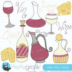 Cheeses Crackers Wine and Grapes 17 Clip Art Food Set by I365Art ...