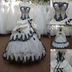 robe de mariee bustier noir et blanc Black Wedding Dresses, Bridal Wedding Dresses, Formal Dresses, Tartan Wedding Dress, Steampunk Wedding Dress, Wedding Robe, Gothic Wedding, Wedding Veil, Wedding Vintage