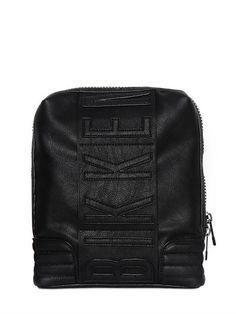 BIKKEMBERGS FAUX LEATHER LEATHER CROSS BODY BAG, BLACK. #bikkembergs #bags #shoulder bags #leather #