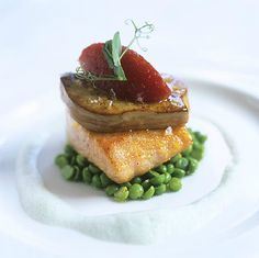 Roasted Salmon with Seared Fois Gras and Herb Foam