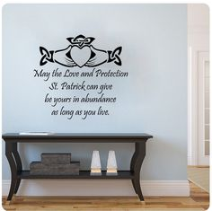 Irish Blessing- May the Love and Protection St Patrick Can Give Be Yours in Abundance Wall Decal ** Check out this great product-affiliate link. #WallStickersMurals