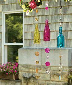"Glass Bottle Wind Chimes Yellow Butterfly Pink Flower Blue Beach 32"" Patio Deck"