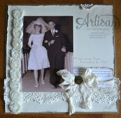 """2013 Artisan Award Winner Blog Hop – Project 4 Posted on August 3, 2013 by Jentimko   vintage wedding 8"""" x 8"""" page   Stamp:  Daydream Medallions; Paper:  Naturals Ivory, Soft Suede, First Edition DSP (retired); Ink:  Crumb Cake, Soft Suede Marker; Accessories:  Flower Trim (retired), Artisan Embellishment Kit (retired), Very Vanilla Seam Binding, Antique Brad, Sponge Daubers, Stampin' Distress Tool"""