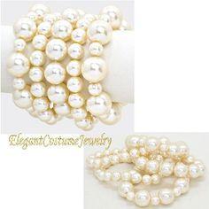 5 row Ivory Pearl Stretch Big & Chunky Bracelet Elegant Jewelry $15.99 #7922 www.ElegantCostumeJewelry.com