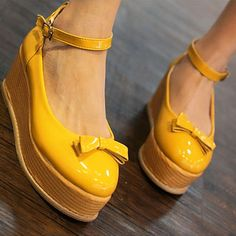 Girl Bow Ankle Strap Retro #Round Toe #Platform #Shoes
