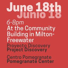 Don't forget about the Community meeting on June 18th starting at 6pm. We will discuss Project Discovery and Pomegranate. See you there! #mfda #community #oregon #miltonfreewater #ava