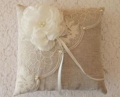 Items similar to wedding ring cushion, wedding cushion, linen and lace on Etsy - New Site Wedding Ring Cushion, Cushion Ring, Police Wedding, Black Wedding Rings, Ring Pillows, Lavender Sachets, Wedding Linens, Linens And Lace, Hand Embroidery Patterns