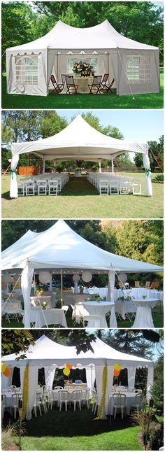 Quictent Heavy Duty Outdoor Gazebo Party Tent Wedding Canopy Carport Shelter with Beige) Outdoor Gazebos, Canopy Outdoor, Canopy Tent, Canopies, Camping Parties, Garden Parties, Backyard Wedding Lighting, Wedding Backyard, Garden Wedding