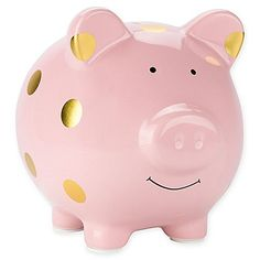 Pearhead™ Large Ceramic Polka Dot Piggy Bank in Pink/Gold Pink Piggy Bank, Pig Bank, Personalized Piggy Bank, Money Bank, Baby Invitations, Ceramics Projects, Buy Buy Baby, New Friends, New Product
