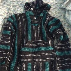 Hippie drug rug/ stoner sweater blue and green. Fits like a medium or large.