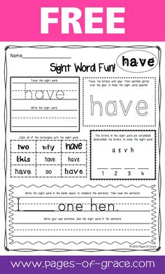 Sight Word Worksheets & Sight Word Activities (First 100 Fry Words) Sight Word Worksheets, Sight Word Activities, First Grade Activities, Kindergarten Language Arts, Kindergarten Reading, Kindergarten Worksheets, Teaching Sight Words, Sight Word Practice, Fry Words