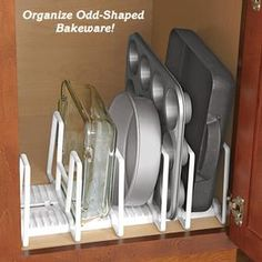 Adjustable Bakeware Organizer @ Fresh Finds - Need this as well.