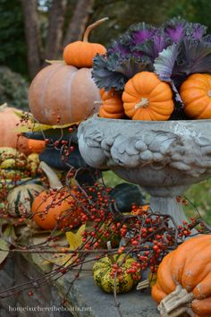 A colorful harvest of pumpkins, mums, ornamental kale, bittersweet vine | homeiswheretheboatis.net #fall