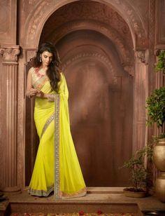 Yellow Designer Poly Georgette Saree & Gold Blouse $60.45 For order whtsap at 9582233490 #yellow #designer #polygeorgette #saree