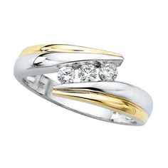 Round Diamond Designer Ring in 14k Two Tone Gold for right hand