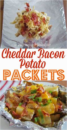 Cheddar Bacon Potato Packets Recipe from The Country Cook. Layers of potatoes, seasoning, gooey melted cheese, bacon and green onion all wrapped up in goodness!