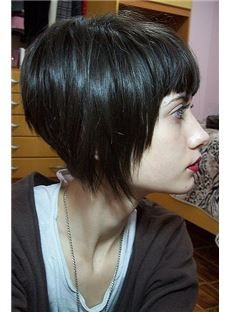 fashionable haircuts for coloured asymmetrical bob hairstyle with black dyed 3966