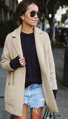 Camel Coat Cozying Up a Pair of Cutoffs