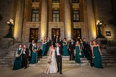 Downtown Tampa Bridal Party Wedding Portrait at Le Meridien Hotel | Emerald Green Strapless Dessy Bridesmaid Dresses and Martina Liana Ivory Satin Wedding Dress with Pink and White Wedding Bouquet | Tampa Wedding Hair Artist Michele Renee The Studio