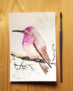 Exotic bird Original watercolor painting, tropical bird painting, watercolor painting of bird, watercolor bird art, kids room decor