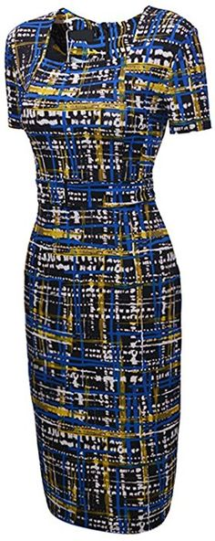 UDORA Square Neck Optical Illusion Business Pencil Midi Dress (XL) at Amazon Women's Clothing store: