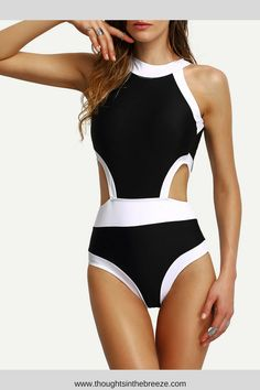 Starting at $7.19+ Contrast High Neck Cutout One-Piece Swimwear check out these cute swimsuits from Romwe.  Looking for a one piece, bikini or tankini- check out the great selection! Suits for those who are modest, curvy, sporty, moms, or teens, they have flattering swimsuits for any body shape. #bikini, #swimsuits, #tankini, #onepiece, #summerfun, #affiliate, #summerfashion, #fashion, #springbreak