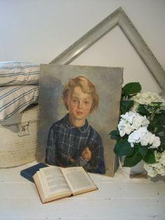 Vintage original oil painting of little girl www.lavenderhousevintage.co.uk #vintage#art#decor#home#interiors#lavenderhousevintage