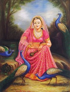 The Graceful Rajput Princess Playing with Peacocks (Reprint on Paper - Unframed) Rajasthani Painting, Rajasthani Art, Mughal Paintings, African Art Paintings, Canvas Paintings, Peacock Painting, Peacock Art, Krishna Painting, Krishna Art