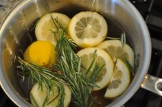 Rosemary Lemon Vanilla Home Scent;  You know that wonderful smell when you walk into Williams Sonoma?  Here's how to get it:  water, sliced lemon, 3 springs of fresh rosemary and about a teaspoon of vanilla.  Simmer on the stove.