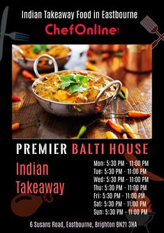 Premier Balti House offers delicious Indian Food in Eastbourne, Brighton Browse takeaway menu and place your order with ChefOnline. Indian Food Recipes, Ethnic Recipes, Brighton, A Table, Menu, Delivery, Restaurant, Fresh