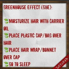 Greenhouse method on natural hair.