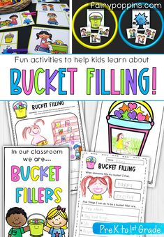 """These fun bucket filling activities help teach kids how to be a bucket filler and are great for developing self-regulation skills too. The activities include worksheets, a sort and classify game, clip cards, posters, certificates and more. There's also a FREE """"Star of the Week"""" activity. #bucketfiller #bucketfilling #bucketdipping #bucketfilleractivities #bucketfillingactivities #staroftheweek #positiveclassroom #selfregulationskills #positiveclassroom #selfregulation #bucketfill"""